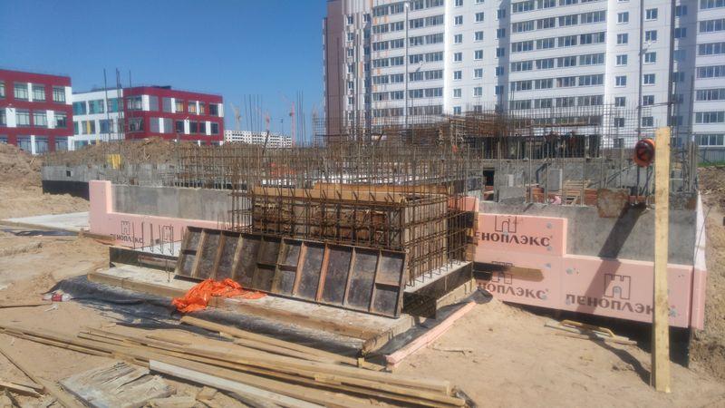 Строительство цокольного этажа  детского сада. 3 июня 2019 года.